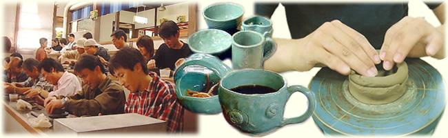 水茎焼陶芸教室 手廻しロクロ ご家族、子供会、社員親睦会、婦人会など団体様でもお楽しみいただけます。